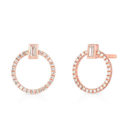 Baguette Diamond and Circle Stud, 14k rose gold - Urbaetis Fine Jewelry