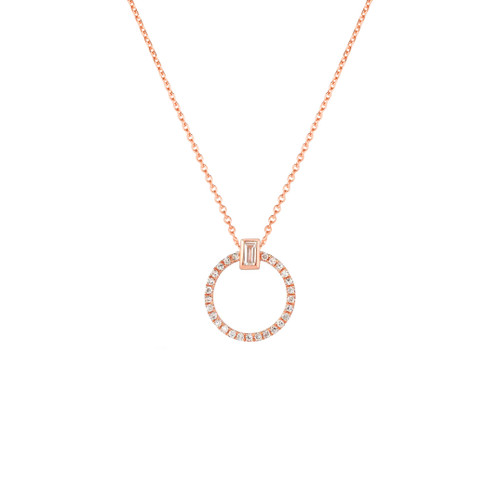 Baguette Diamond Circle Necklace, 14k rose gold - Urbaetis Fine Jewelry
