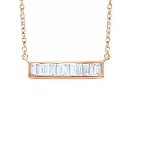 Baguette Diamond Bar Necklace, 14k Rose Gold - Urbaetis Fine Jewelry