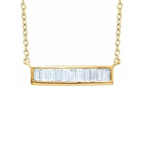 Baguette Diamond Bar Necklace, 14k Yellow Gold - Urbaetis Fine Jewelry