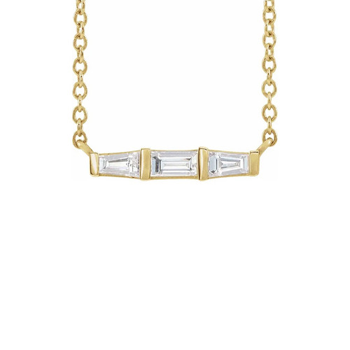 Tapered Baguette Diamond Bar Necklace, 14k Yellow Gold - Urbaetis Fine Jewelry