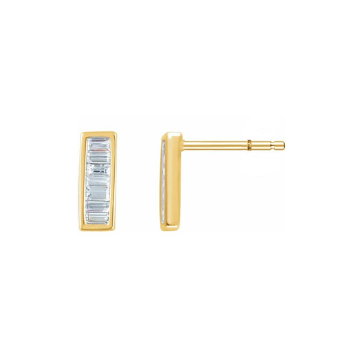 Tapered Baguette Diamond Bar Earring, 14k Yellow Gold - Urbaetis Fine Jewelry