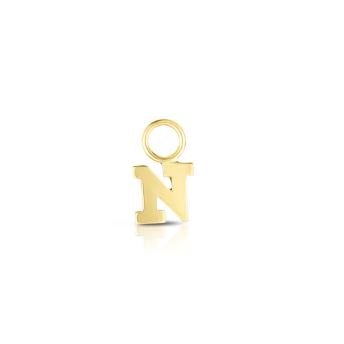 Block Letter Initial Earring Charm, 14k Yellow Gold - Urbaetis Fine Jewelry