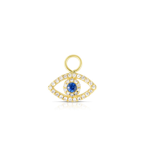 Diamond Evil Eye Earring Charm, 14k Yellow Gold - Urbaetis Fine Jewelry