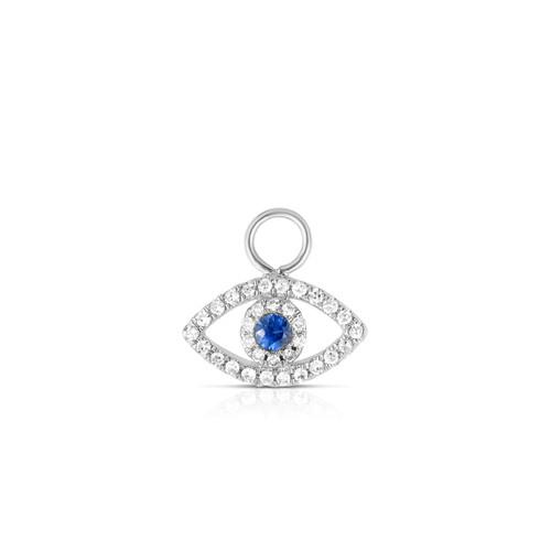 Diamond Evil Eye Earring Charm, 14k White Gold - Urbaetis Fine Jewelry