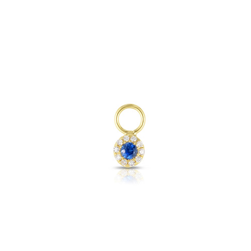 Sapphire Halo Earring Charm, 14k Yellow Gold - Urbaetis Fine Jewelry