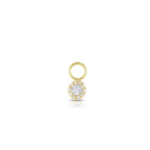 Diamond Halo Earring Charm, 14k Yellow Gold - Urbaetis Fine Jewelry