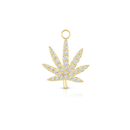 Diamond Calm Tree Earring Charm, 14k Yellow Gold - Urbaetis Fine Jewelry