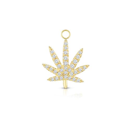 Diamond Calm Tree Earring Charm, 14k Yellow Gold - Urbaetis Fine Jewelry