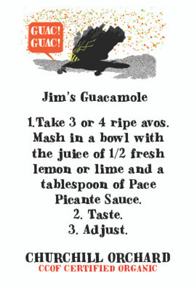 Insert card features Jim's actual guacamole recipe. It's simple!