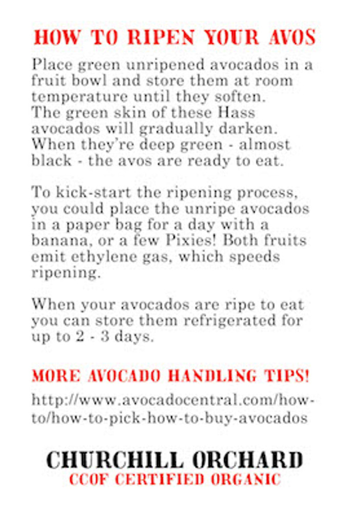 On the flip side - step by step instructions for ripening your avocados.  Hint: Mostly, you wait.