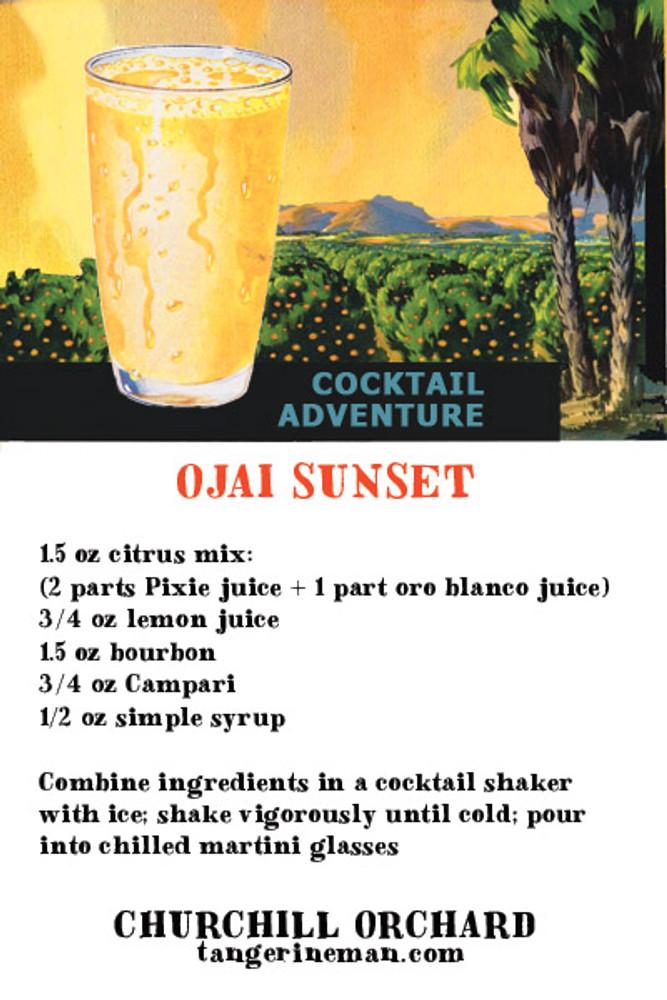 Our own signature cocktail - the Ojai Sunset. Create your own signature cocktail. Or - just enjoy the fullness of late-season ripe citrus.
