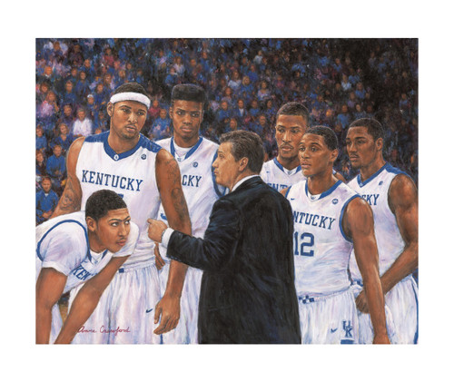 "NEW RELEASE! ""Dream Team"" by artist Anne Crawford.  Pictured are Coach John Calipari with the top ten picks from 2009-2013 - Anthony Davis, Demarcus Cousins, Nerlens Noel, Michael Kidd-Gilchrist, Brandon Knight and John Wall.  Imagine the possibilities of this team!"