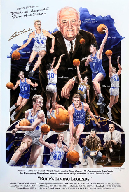 Signed by Ralph Beard (now deceased),  Joe B Hall, Dan Issel, Cotton Nash, and Johnny Cox