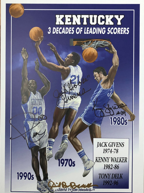 3 Decades of Leading Scorers signed by Kenny Walker, Jack Givens & Dan Issel