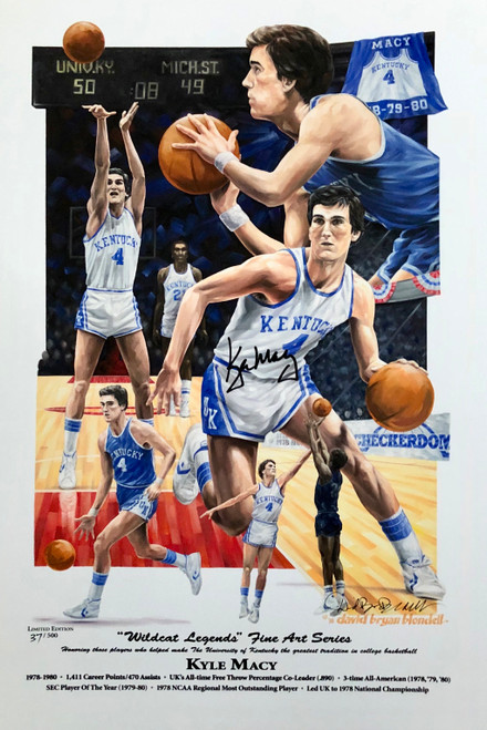 "Kyle Macy ""Wildcat Legend"" print hand signed by Kyle Macy"