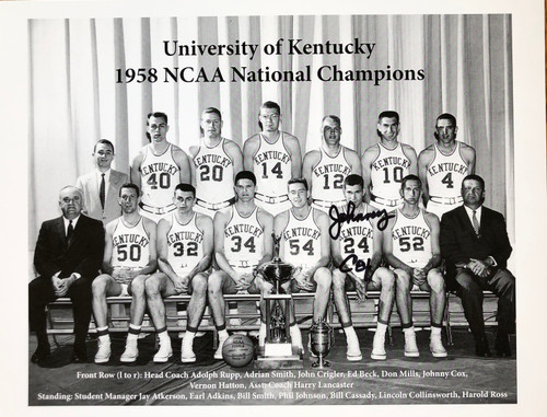 1958 NCAA Championship Team Photo hand signed by JOHNNY COX.