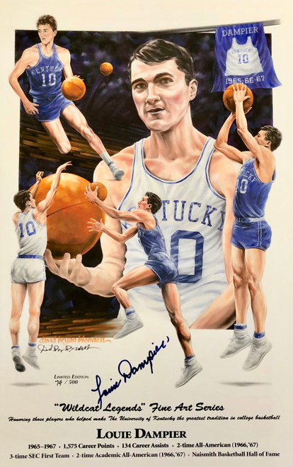 "Louie Dampier ""Wildcat Legend"" print hand signed by Louie Dampier"