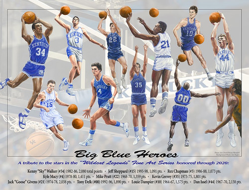 """Big Blue Heroes"" artist proof signed by Dan Issel, Kenny Walker, Jack Givens, Mike Pratt, Louie Dampier and Kevin Grevey plus artist, David Blondell"