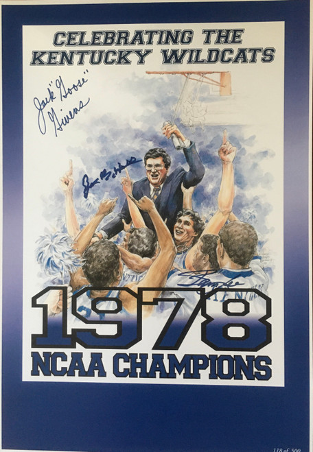 Celebration print signed by Joe B Hall, Jack Givens and James Lee