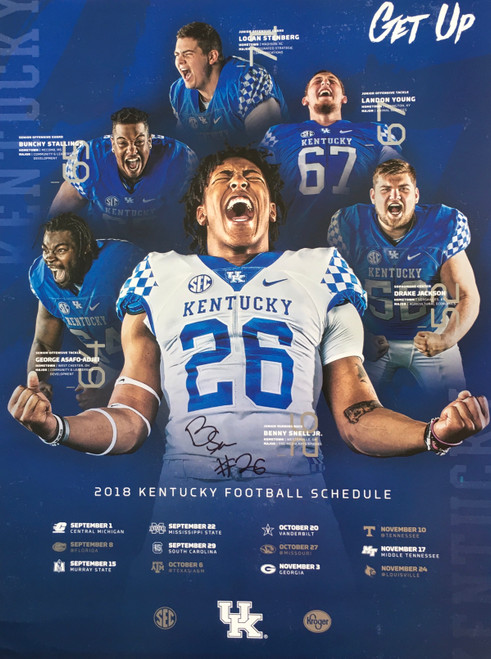 Benny Snell signed 2018 Kentucky Football Schedule Poster 18x24