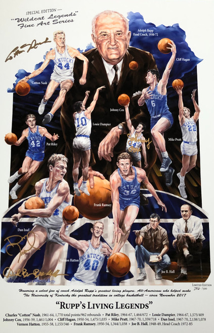 Signed Cotton Nash, Johnny Cox, Dan Issel and artist David Blondell