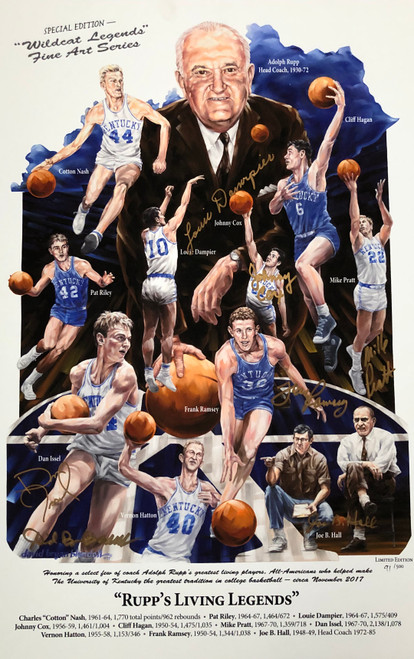 Rupp's Living Legends signed by Johnny Cox, Louie Dampier, Dan Issel, Mike Pratt, Frank Ramsey, Joe B Hall and artist David Blondell