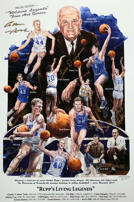 Signed by Cotton Nash, Louie Dampier, Johnny Cox, Dan Issel, Frank Ramsey, Mike Pratt, Joe B Hall and artist David Blondell