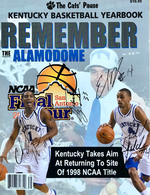 Kentucky Basketball Yearbook signed: Hawkins, Fitch, Daniels, and Barber