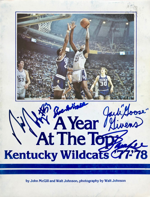 A Year At The Top Kentucky Wildcats 77-78 signed by Hall, Robey, Lee, and Givens