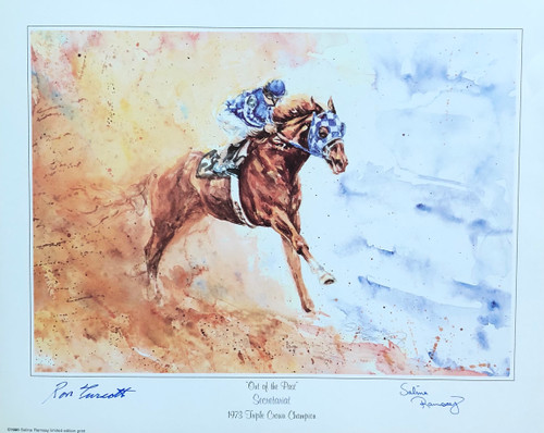 Out of the Past signed by artist Salina Ramsay and jockey Ron Turcott