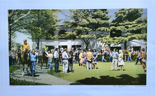Keeneland Paddock signed and numbered print by artist Roy Miller