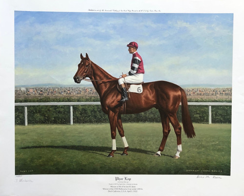 Phar Lap signed by artist Richard Stone Reeves with Jim Pike up