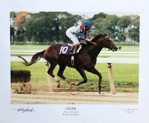 Cigar winner of the 1995 Breeders Cup Classic signed by photographer Tony Leonard