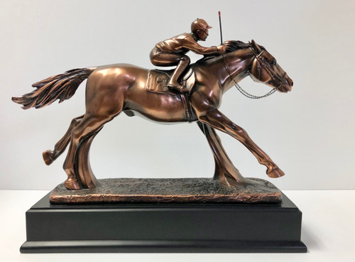 "Jockey on Horse 13""W x 10.5""H copper plated and resin cast"