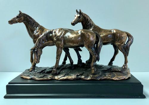 "Three Horses 14.5""W x 9.5""H"