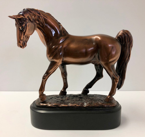 "Horse Figurine 7""W x 6""H  Copper Plated Resin Cast"