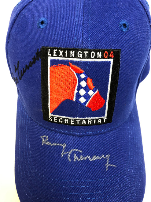 Secretariat 04 Cap signed by Owner Penny Chenery and Jockey Ron Turcott