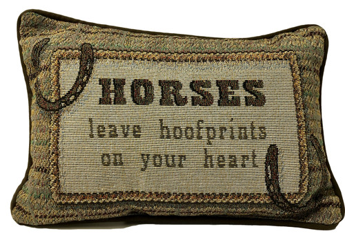 HORSES leave hoofprints on your heart pillow small 12.5Wx8.5H