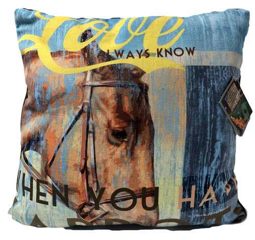 Horse Love Pillow Large 18Wx18H