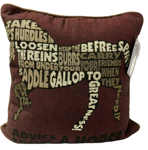 Advice from a horse/txt pillow 17wx17h