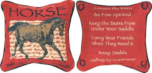 Advice From a Horse Cord Pillow 12.5W x 12.5H