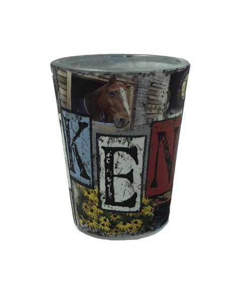 "Kentucky Mosaic Shot Glass features all things Kentucky:  horse racing, flowers, banjo, log cabin, water falls, and State Flag 2""W x 2.25""H"