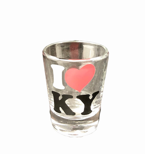 "I Love KY Shot Glass Clear 2""W x 2.25""H  $5.00"