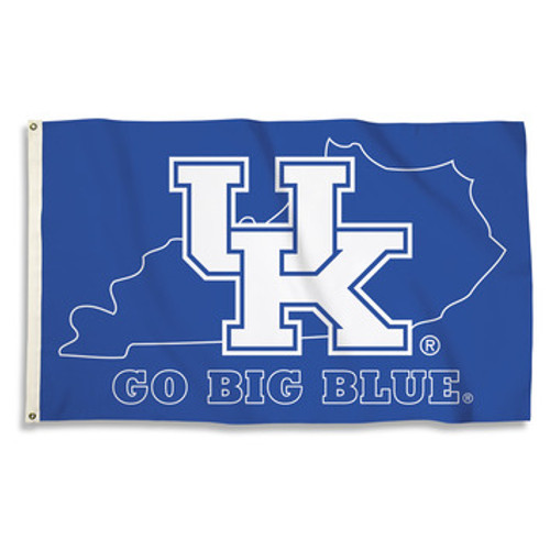 GO BIG BLUE premium flag 3' x 5' royal blue with white lettering and state outline.
