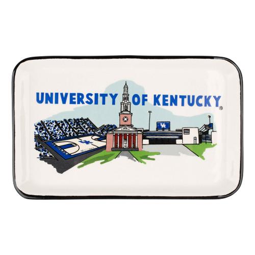 "Trinket Tray 8""W x 5""H highlights Kentucky basketball, football, and Memorial Hall"