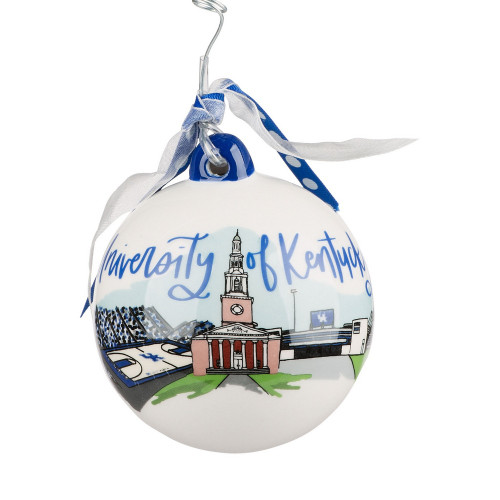4x4x4 Kentucky Landmark Ball Ornament basketball, football, and Memorial Hall.  Front