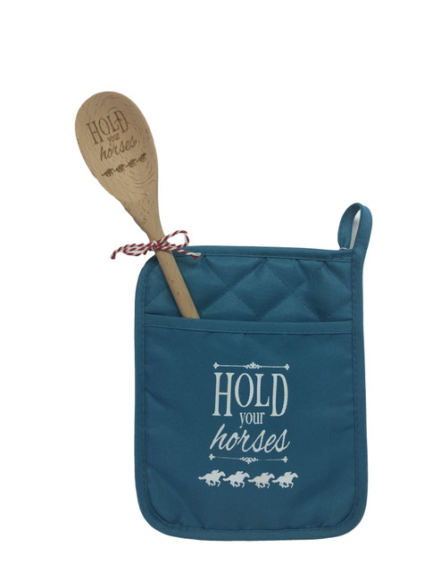 Potholder (teal color) with etched wooden spoon