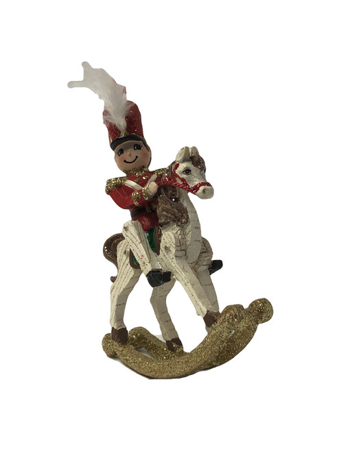 "3""w x 4""H x 1""D Toy Soldier on White Rocking Horse Ornament"