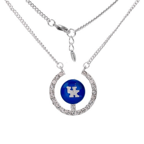 """18"""" necklace with crystals and raised blue logo with white UK letters and silver"""